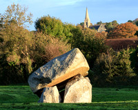 Bronze Age dolmen at the Cromlech Fields estate on the Shanganagh Road on the northern approach to Shankill. The 19th century church in the background is St Alphonsus & Columba of the Ballybrack and K